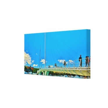 Sky Blue Bridge, 24 x 12, Wrapped Canvas Print, right