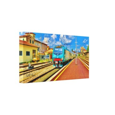 The Florence Train Pulls Into Lucca, Wrapped Print, 20 x 10, left