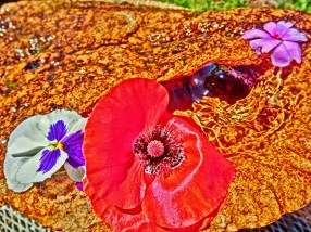Bird Mountain Fountain Flowers