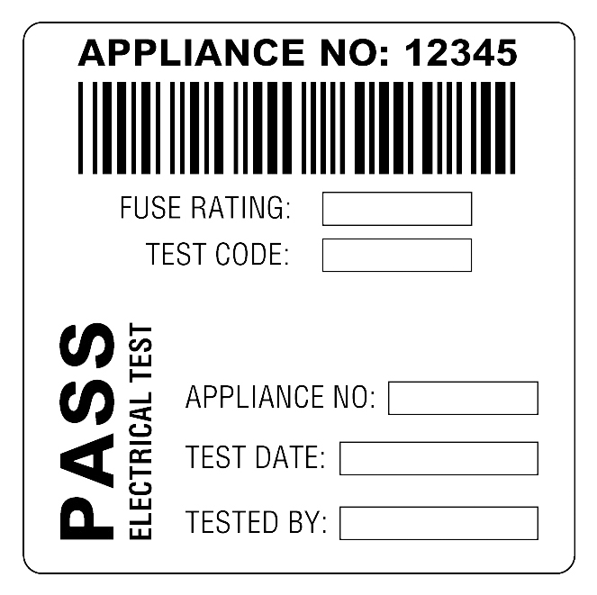 Martindale BAR3 Combined Barcode & PASS PAT Test Labels