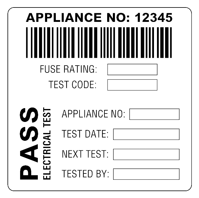 Martindale BAR2 Combined Barcode & PASS PAT Test Labels