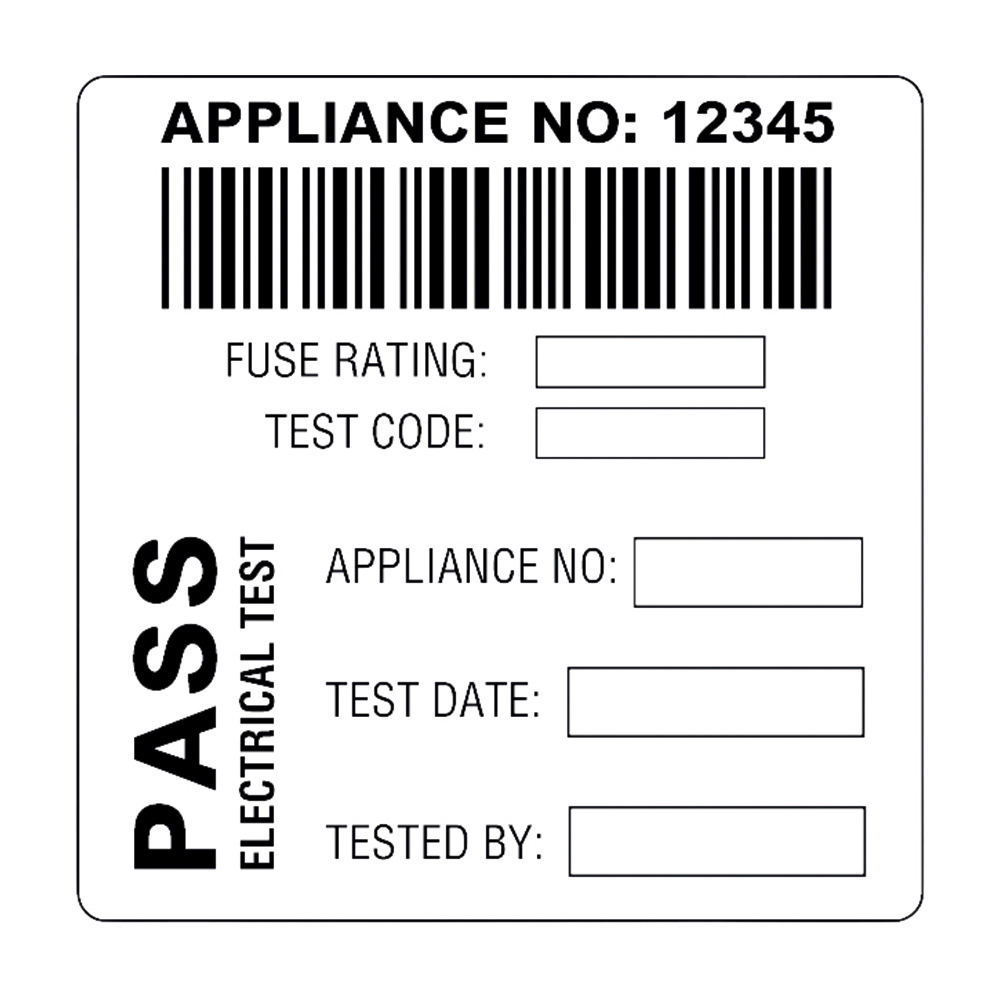 Martindale BAR3 Combined Barcode & PASS PAT Test Label