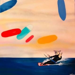 Porco Rosso Kite surfer Acrylique sur toile60 x 60