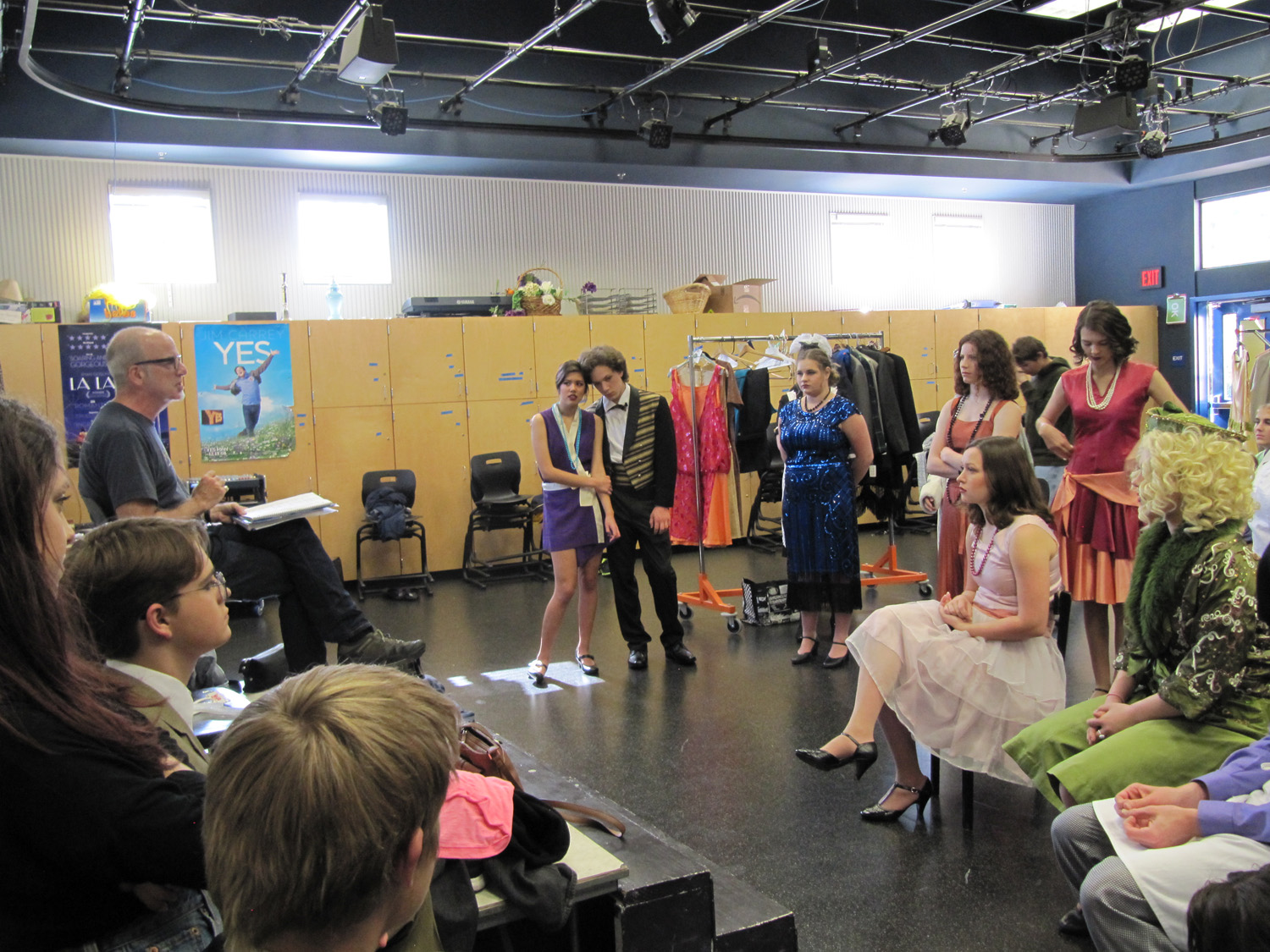 Mr. Gerry Wiener giving notes to the actors before rehearsal