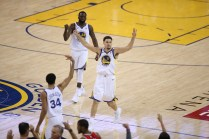 Golden State Warriors vs Houston Rockets Game 6 #11 Klay Thompson Celebrating Photos by Tod Fierner Martinez News-Gazette