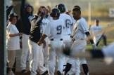 Martinez Clippers Opening Night vs Sonoma Stompers Baseball #9 Mochabee Celebrates first run of the season Photos by Tod Fierner Martinez News-Gazette