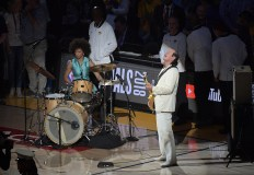 Golden State Warriors vs Cleveland Cavaliers National anthem Carlos Santana Game Two NBA Finals Photos by Gerome Wright (Martinez News-Gazette)