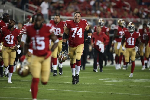 San Francisco 49ers vs Cowboys #74 LT Joe Staley all Smiles Photos by Tod Fierner ( Martinez News-Gazette )