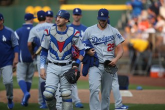 Oaklands A's vs LA Dodger's #9 C Grandal with Clayton Kershaw Photos by Tod Fierner ( Martinez News-Gazette )