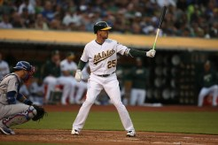 Oaklands A's vs LA Dodger's #25 RF Stephen Piscotty Photos by Tod Fierner ( Martinez News-Gazette )