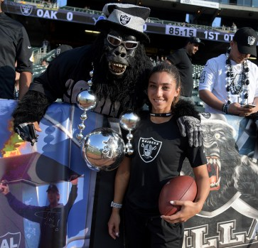 Oakland Raiders vs Detroit Lions Gorilla Man with Raiders strength & Conditioning assistant Kelsey Martinez Photos by Gerome Wright ( Martinez News-Gazette )
