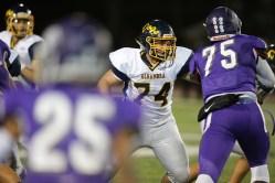 Alhambra Bulldogs vs College Park Falcons #74 RG John Kelly Photos by Tod Fierner ( Martinez News-Gazette )