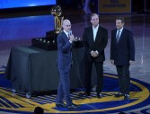 Golden State Warriors vs Oklahoma City Thunder Commissioner Adam Silver with Warriors Owners Joe Lacob & Peter Guber Photos by Gerome (Martinez News-Gazette)