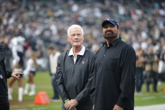 Oakland Raiders vs Pittsburgh Steelers Raider legend LB #41 Phil Villapiano with Pittsburg Hall of Fame RB #32 Franco Harris Photos by Tod Fierner