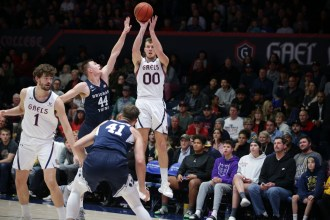 Saint Mary's Gaels vs BYU Cougars #00 Guard Tanner Krebs for Three Photos by Tod Fierner (Saint Mary's College)