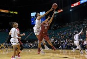 California Golden Bears center Kristine Anigwe (31) blocked Washington State Cougars guard Chanelle Molina (11) in the 3rd quarter to finished the game with 200 career blocked shots during the first round game of the Pac-12 Conference women's basketball tournament Thursday Mar72019 in Las Vegas.. Cal defeated WSU 77-58. (Gerome Wright/IOS via AP)