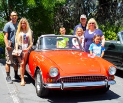 Mike & Jan Querio (right) of Alamo brought their 1967 Sunbeam Tiger Mk II, a British sports car with a Ford V8. Shown on the left are their niece Jessica with her friend Nick, and on the right are Grandkids Gianna and Jack, along with great niece Erin.