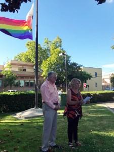 John Stevens and Noralea Gipner at the PRIDEflag raising