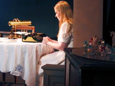 (Laura with glass menagerie (photo by Becky Doyle-Davis)
