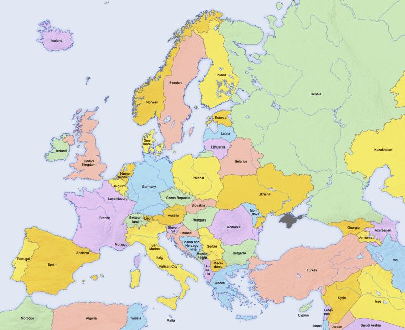 Mapa de países de Europa