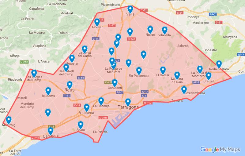 Camp de Tarragona y sus núcleos de población
