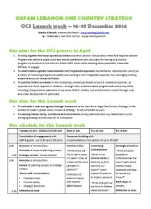 OCS Launch week - outline