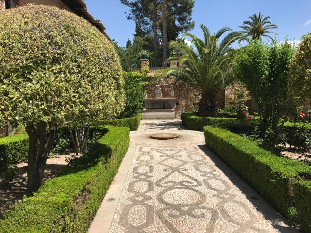 Granada - Alhambra - green corner next to hotel Parador de Granada