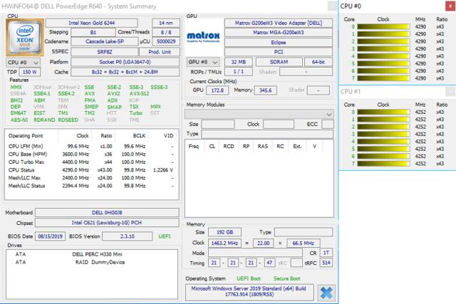 CPU and RAM parameters - Customer 1 - HWiNFO64 appl