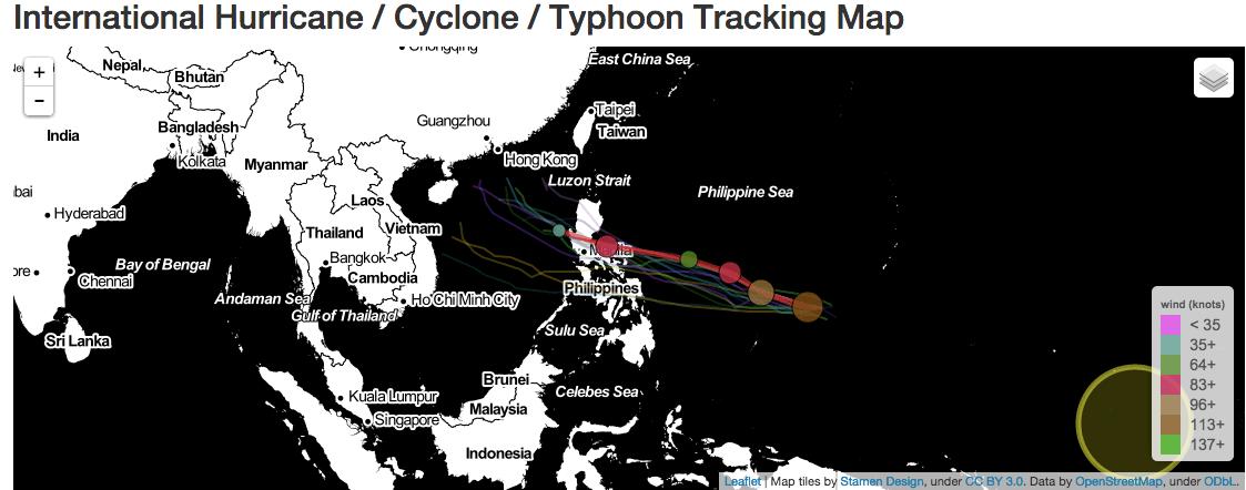 Supertyfonen Maysak på Stilla Havet