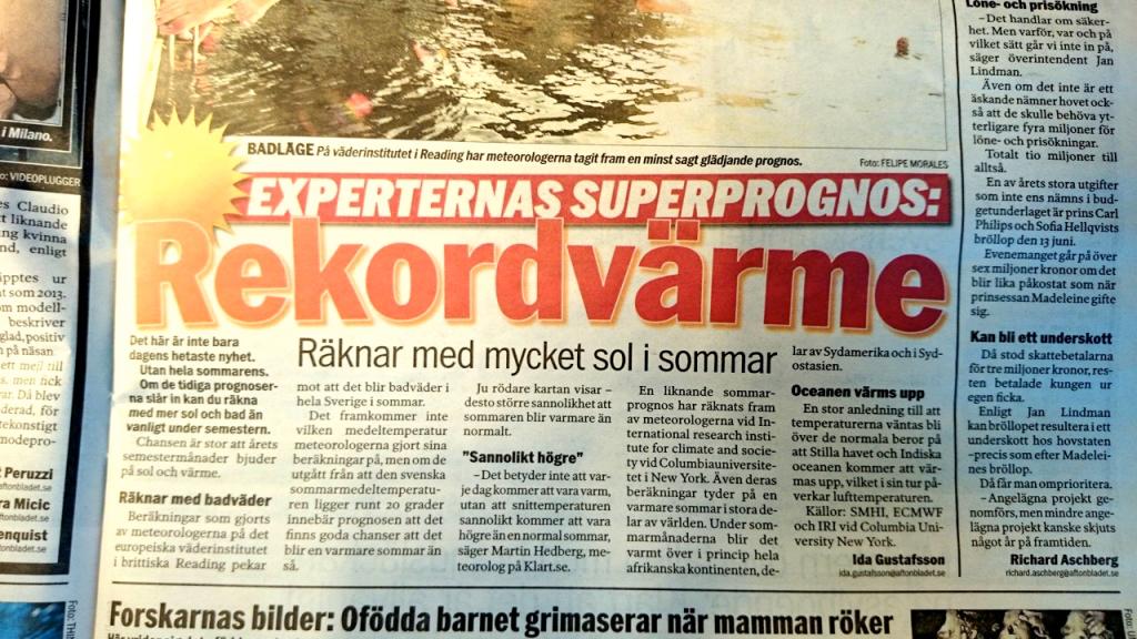 """Aftonbladet om förväntad """"rekordvärme"""""""