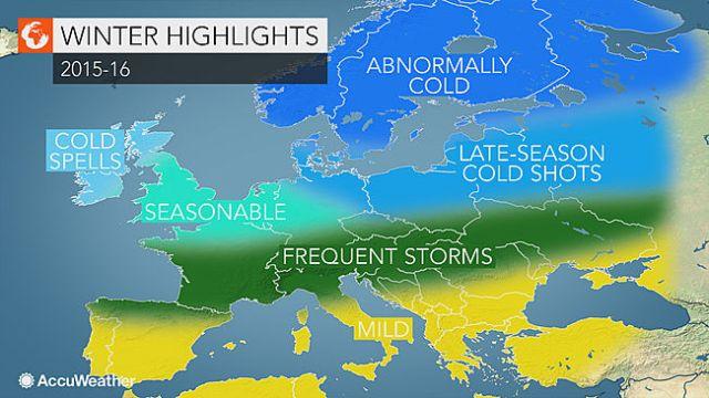 Grafik från Accuweathers säsongsprognos för Europa