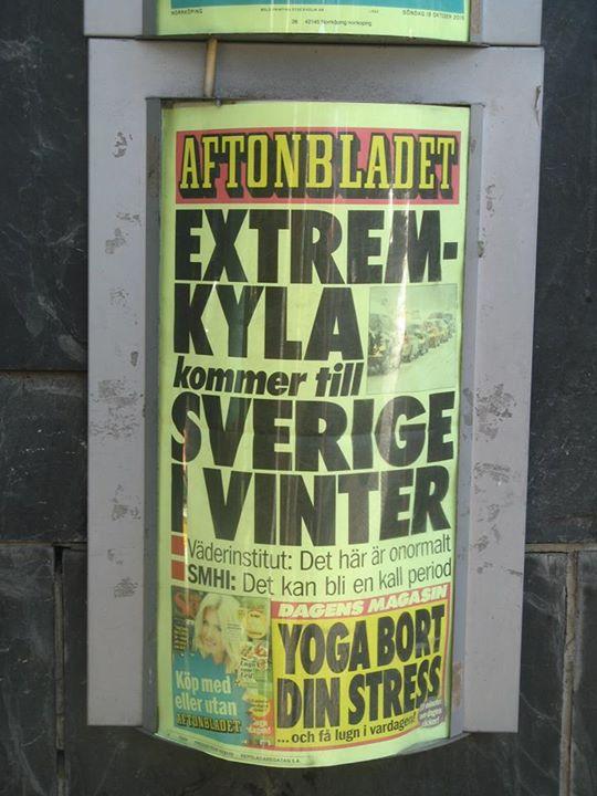 Aftonbladets löpsedel söndag 18 oktober 2015
