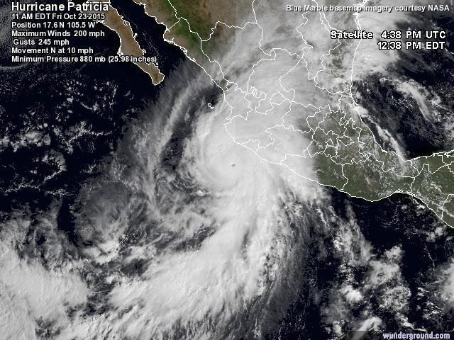 Obehagliga rekord av orkanen Patricia