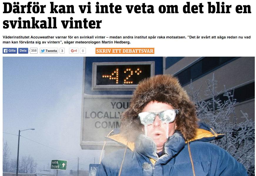 Skärmdump från Metro.se 19 oktober 2015