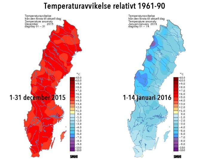 Temperaturavvikelse i december 2015 respektive 1-14 januari 2016 relativt perioden 1961-90. Källa: SMHI.