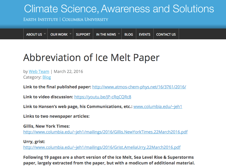 "Sammanfattning av Hansens artikel ""Ice Melt, Sea Level Rise and Superstorms"""