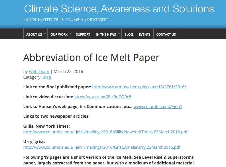 """Sammanfattning av Hansens artikel """"Ice Melt, Sea Level Rise and Superstorms"""""""