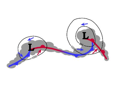 Två lågtryck har börjat fördjupas längs med en frontzon. Svarta linjer är isobarer.