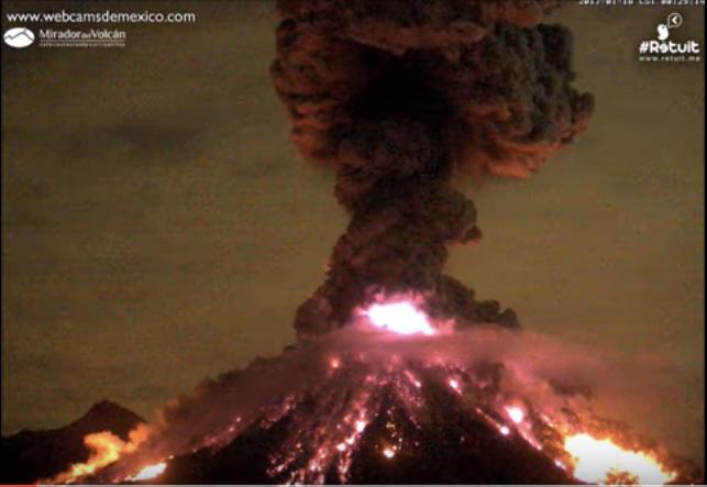 Vulkanutbrott i Mexiko fångat på webcam