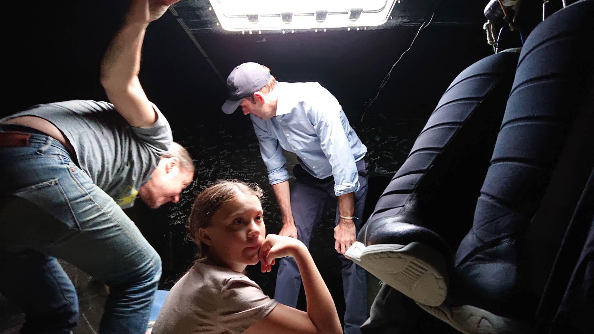 Greta Thunberg with her father Svante Thunberg and Richard Brisius, The Ocean Race