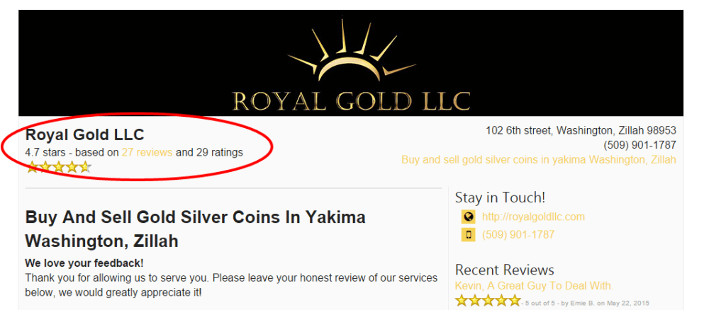 Royal Gold LLC Reviews Washington Zillah 98953 Buy and sell gold silver coins in yakima