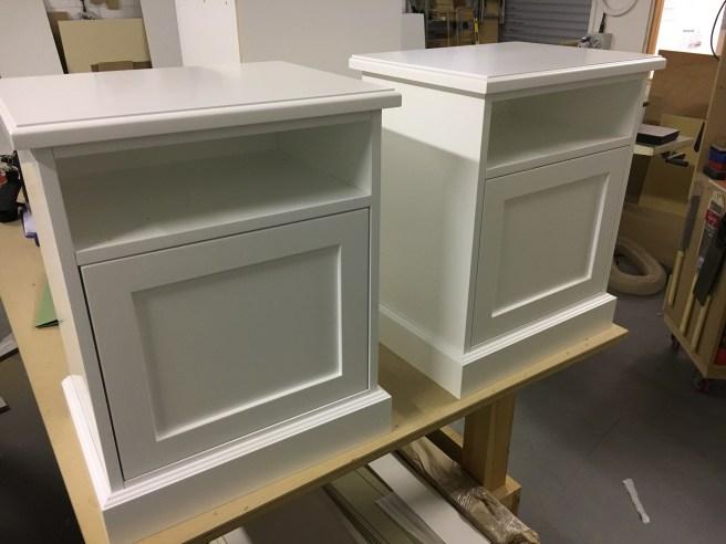 Spray finished bedside cabinets
