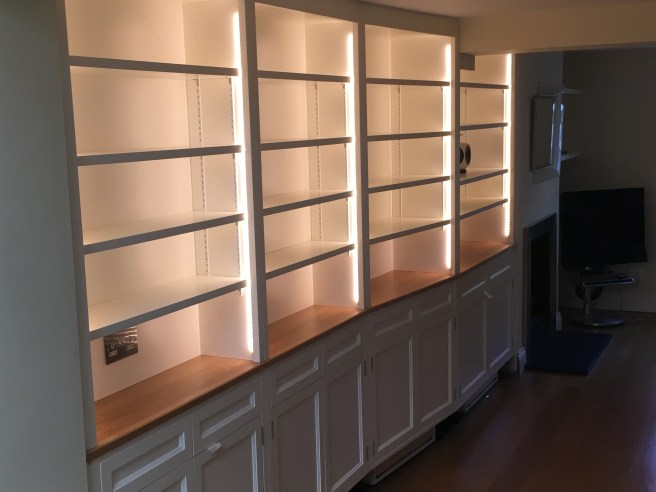 Home library storage and display, with doors and drawers.