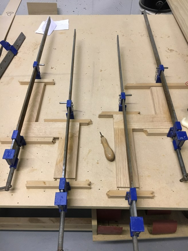 Glueing up rails for a oak kitchen door