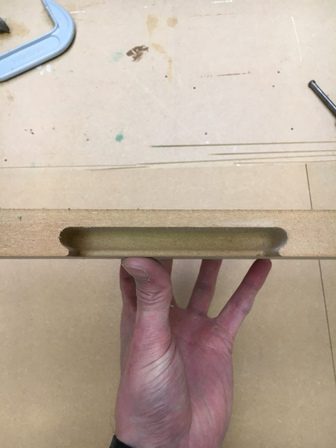 Practice cut for finger pull on doors and drawers