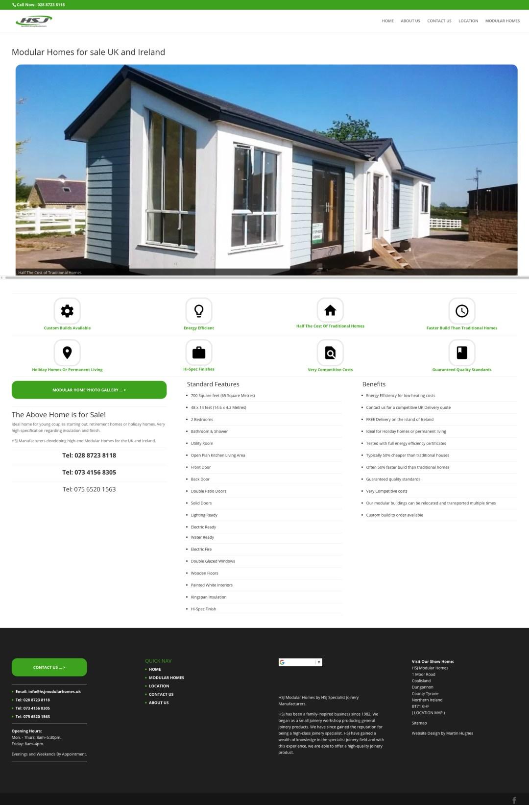 HSJ Modular Homes website screenshot