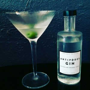 Dry martini featuring Antipodes gin