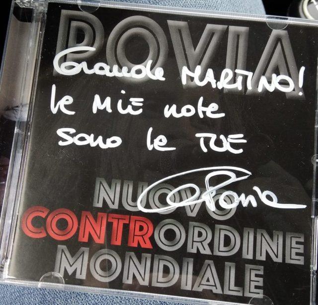 Povia - Nuovo Contrordine Mondiale album con dedica