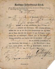 Vaccine certificate from 1827, smallpox vaccine. Public domain, via Wikimedia Commons