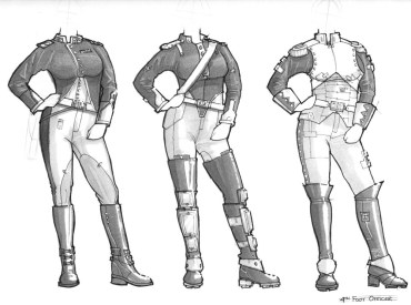 Costume designs for a Victorian inspired future officer.